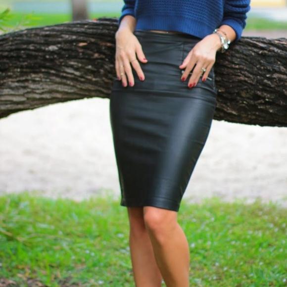 bf0164cb0e Zara Skirts | Basic Collection Faux Leather Pencil Skirt | Poshmark